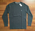 $50 NWT Polo Ralph Lauren Mens Gray Long Sleeve Waffle Cotton T Shirt Logo S M L