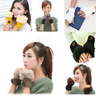 Knit Gloves Winter Warmer Fur Plush Hand Wrist Finger-less Mitten For Women Girl