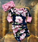US Stock Baby Girls Newborn Swaddle Long Sleeve Outfits Romper Blanket Lovely