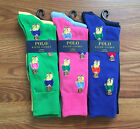 NEW NWT POLO RALPH LAUREN Mens Golf Bear Crew Trouser Socks LIMITED EDITION OS