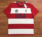 $50 NWT POLO RALPH LAUREN Mens USA Big Pony Logo Red White Stripe T Shirt M L XL