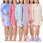 i-Smalls Ladies Nightshirt Buttoned Floral Ultra Soft Cotton With Eye Mask