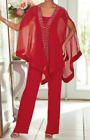 Внешний вид - Ashro Red Silver Beaded Formal Pant Suit Dinner Party Cruise S M L XL 1X 2X 3X