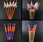 New 5PCS Daily Chic Pumpkin Skeleton Style Straws Party Bar Supplies Lots