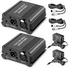 Power Supply Phantom 2 Pack 1 Channel 48V Black with Adapter XLR Audio Cable