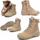 Men Army Tactical Comfort Leather Combat Military Ankle Boots Work Desert Shoes。