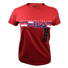 FILA Women's T-shirt - Athletic Active Sport Red, White & Bl