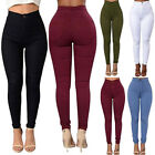 Women Pencil Skinny Slim Jeans Pants High Waist Stretch Soli
