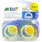 Baby Soother Dummy Pacifier Teat Twin Pack Boy / Girl Night Glow in Dark Avent
