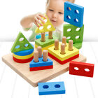 Wooden Educational Toys, Wooden Shape Color Sorting Preschool Stacking Blocks