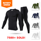 Mens Winter Ultra-Soft Fleece Lined Thermal Top & Bottom Long John Underwear Set