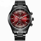 UK Mens Wristwatch Stainless Steel / Leather Strap Quartz Analog Luxury Watch