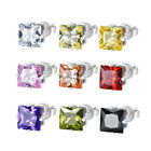 White Gold Plated AAA+ Princess Cubic Zirconia CZ Square Stud Earrings Jewelry image