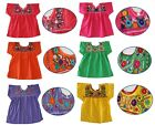 Mexican Peasant Blouse Hand Embroidered Top Assorted Colors