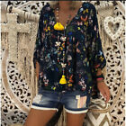 Autumn Sexy Women's Shirt Clothing Plus Size Deep V-neck Long Sleeve Floral Tops