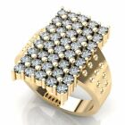 2.00 ct Mens 18K Gold Round Diamond Rectangle Fashion Cluster Engagement Ring