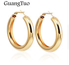 LARGE STATEMENT CHUNKY WIDE HOOP LEVERBACK ROSE GOLD SILVER EARRINGS UK SELLER