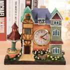 Antique Wooden Wall Clock Castle Time Table Alarm Watch Home Art Decoration