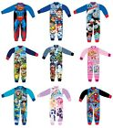 Boys Girls Kids Character Winter Fleece All In One Bodysuit / Sleepsuit Pyjamas