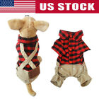 Pet Dog Plaid T-shirt Romper Overall Bib Pants Puppy Clothes Jumpsuit Outfits