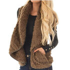 Winter Warm Womens Long Coat Fur Collar Vest Jacket Fleece Parka Outwear Coats