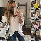 USA Women's V neck Button Sweater Tops Loose Long Sleeve Pullover Blouse Shirt