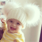 Внешний вид - HOT Child Baby Boys Girls Beanie Hat Cap Winter Warm Double Fur Pom Bobble Knit