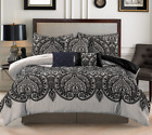 7 Piece Luxury King Comforter Set Black Paisley  image