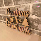 Personalised MDF Wooden Sign Plaque Christmas at the ANY NAME Family Eve Box