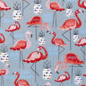 Nutex Tropical Pink FLAMINGO Bird and Pineapple Fruit Fabric - Grey