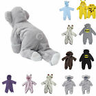 US Newborn Baby Boy Girl Hooded Romper Jumpsuit Bodysuit Outfits Clothes 0-24 M