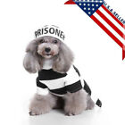 Pet Cat Dog Costume Prison Uniform Dress Up Party Halloween Clothes With Hat USA