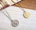 NEW BOHO GOLD SILVER TONE ROMAN HEAD COIN PENDANT CHAIN NECKLACE UK SELLER