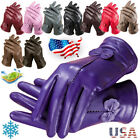 17 Colors Women Lady Winter Warm Driving Gloves Cute Bow Lambskin Leather Gloves