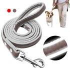 Reflective Dog Lead Safety 4ft Dog Walking Leash Puppy Pet Traning Leather Lead
