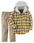 Carters 18 Months 4T Flannel Shirt & Pant Set Baby Toddler Boy Clothes Hoodie