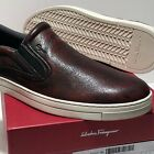 FERRAGAMO Brown Pebbled Leather Men's Slip-on Fashion Loafers Red Casual Welted