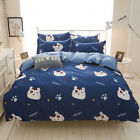 Home Single Queen King Bed Set Pillowcase Quilt Duvet Cover oAUR Cute Cat xmmm