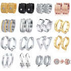 Внешний вид - Women Men Stainless Steel CZ Hoop Huggie Ear Stud Earrings Silver Gold Jewelry