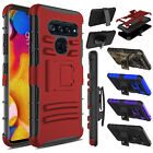 Hybrid Shockproof Kickstand Belt Clip Hard Phone Case Cover For LG V40/V40 ThinQ