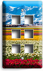 FLORAL FLOWER FIELD SNOWY MOUNTAINS LIGHT SWITCH OUTLET WALL PLATE ROOM HD DECOR