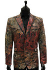 Blu Martini Men MultiColor Faux Snakeskin Print Trendy Party 2 Button Fun Blazer