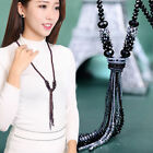Hot Women Fashion Jewelry Long Tassel Sweater Chain Glass Crystal Beads Necklace