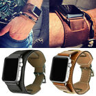 For Apple Watch Genuine Leather Band Cuff Bracelet Strap Series 432 40mm 44mm US image