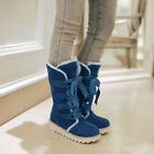 Womens Leopard Winter Warm Mid Calf Boots Lace up Creeper Cuffed Shoes Plus Size