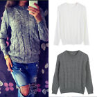 Womens Long Sleeve Knitted Loose Winter Warm Sweater Casual Jumper Pullover Tops