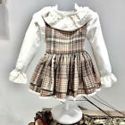 UK Retro Toddler Kids Baby Girl Xmas Thanksgiving Lace Plaid Party Dress Clothes <br/> 3-5 Days❤Free Shipping❤Return Back❤High Quality