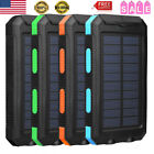 10000mAh LED Solar Panel Power Bank Battery Charger 2 USB For Phone Waterproof