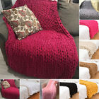 Handmade Large Soft Bulky Chunky Thick Merino Yarn Knitted Wool Throw Blanket image
