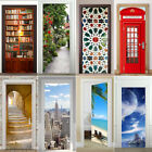 3d Door Wall Fridge Sticker Decals Waterproof Adhesive Scene Mural Home Decor